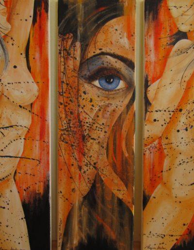 Momente der Vergänglichkeit I+II+III Triptychon - 100x90 - Acryl auf Leinen
